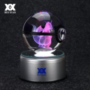Dragonite 3D Crystal Ball Pokemon Go Light Glass Ball Engraving Round With Black Line Ball LED Colorful Base Child's Gift