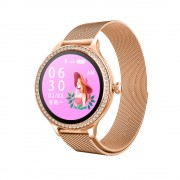 M88 IP68 Waterproof Heart Rate Monitor Fitness Tracker Health Lady Smart Bracelet - Gold/Metal Strap
