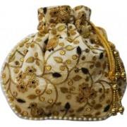 AyA Fashion Designer Royal Ethnic Clutch Silk Potli Batwa Wallet Bag with Beads Work |Hand embrodired and Golden Lace work Potli(Black)