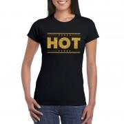 Bellatio Decorations Hot t-shirt zwart met gouden glitters dames