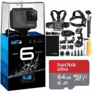 Видеокамера GoPro Hero 6 Black Camera + Аксесоари 19 в 1 за Go Pro Hero 6 + Карта памет SANDISK Ultra micro SDXC 64G