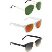 Abner Aviator, Wayfarer, Clubmaster Sunglasses(Green, Multicolor, Black)