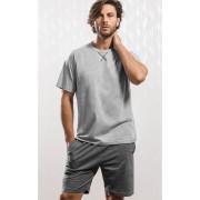 Pijama Masculino Adulto Mixte camistea com shorts em meia malha na cor mescla