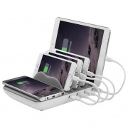 Laser 8A 4-Port USB Fast Charging Station Stand & Qi Wireless Charger