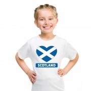 Bellatio Decorations Schotland hart vlag t-shirt wit jongens en meisjes L (146-152) - Feestshirts