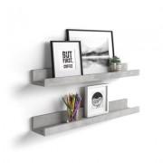 Mobili Fiver Par de estantes para cuadros, modelo First, 80 cm, color Cemento gris
