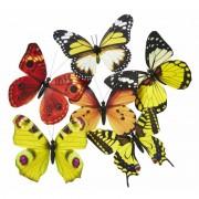 Nature Plush Planet Magneet vlinder geel/oranje 13.5 cm