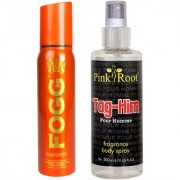 Fogg Radiate Fragrant Body Spray for Women 100ml and Pink Root Tag-Him Pour Homme Fragrance body Spray 200ml Pack of 2