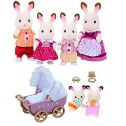 Epoch Sylvanian Families Family Set Bundle of Chocolate Rabbit with Twins