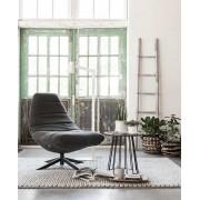 24Designs Blaze Lounge Fauteuil - Stone Washed Antraciet Katoen - Zwarte Kruispoot