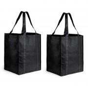 Merkloos 2x Boodschappen tas/shopper zwart 38 cm