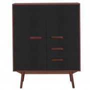 Wood and Vision Curve Highboard opbergkast 3-3 walnoot deuren zwart