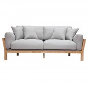 Miliboo Canapé design 3 places déhoussable gris clair pieds bois KYO