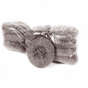 Set 10 Bureti Spiralati pentru Uz Profesional din Inox OTI, 40 g, Culoare Argintie, Burete din Inox Spiralat, Spalatoare din Inox pentru Vase, Bureti Metalici, Burete pentru Curatare Vase, Bureti pentru Vase, Spalator din Inox, Spalator Metalic