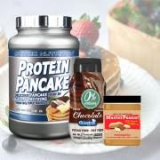 Pack Pequeno-almoço - Panquecas + Manteiga de Amendoim + Syrup (Sabor Panqueca»: Chocolate Branco / Coco, Sabor Syrup»: Chocolate, Textura Manteiga: Crocante)