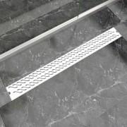 vidaXL Rovný sprchový odtok s vlnkami, 1030x140 mm, nerezová oceľ