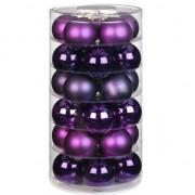 Bellatio Decorations 30x Paarse glazen kerstballen 6 cm glans en mat