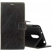 Retro Caballo Loco Textura Horizontal Flip Funda De Cuero Para Nokia X6, Con Titular Y Ranuras Para Tarjetas Y Billetera Y Photo Frame (negro)