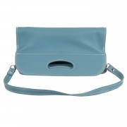 Unbranded ITALIAN HANDMADE Light Blue Leather FOLDABLE TOTE Clutch HANDBAG w/ STRAP