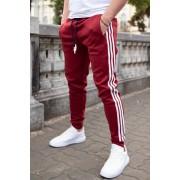 Pantaloni Stripes Bordo-Alb