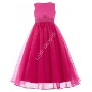 Lejdi Różowa sukienka w odcieniu fuksja zdobiona koronka dla dziewczynki sukienki na wesele dla dziewczynek