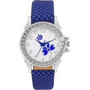 New Unique Collection Blue Flower Dial Leather Belt Watch For Girl Watch - For Women