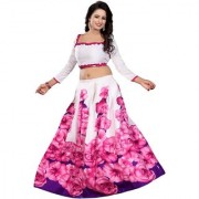 Rise On Fab New Designer Pink Color Printed Benglory Satin Silk Semi-Stitched Lehengha (ROSE)