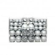 Sonata Комплект коледни топки от 100 части, 6 см, сребро