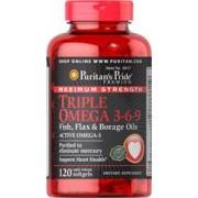 vitanatural omega 3-6-9 vlas, vis, borage 1200 mg 120 softgels