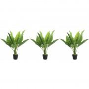 Shoppartners 3x Groene waterplanten kunstplanten 74 cm in zwarte pot