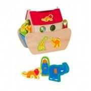 Jucarie educativa Globo din lemn cu sortator si animale Arca lui Noe