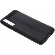 Zwart Lederen siliconen case Huawei P20 Pro