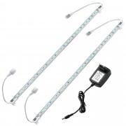 [in.tec] Tira de luz LED aluminio - 2 x 50cm - 7,2W - 30 SMD - blanca fría - con fuente de alimentación