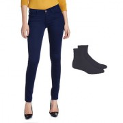 Fuego Fashion Wear Blue Jeans With Assorted Socks For Women