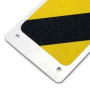 Černo-žlutý hliníkový protiskluzový nášlap na schody - délka 11,4 cm a šířka 62,5 cm