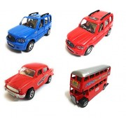 Combo of 4 Vehicle Toys   Scorpio Car, Scorpio Car, Ambassador Car and Double Decker Bus   Toys for kids  Toys for Show piece   Miniature/Model Car Toys  Pull back and Go   Openable Doors   Blue, Red, Red and Red Color  Set of 4 Toys