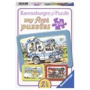 PRIMUL MEU PUZZLE POLITIE, POMPIERI, 3X6 PIESE - RAVENSBURGER (RVSPC06115)