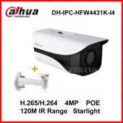 Dahua Starlight 4Megapixel DH-IPC-HFW4431K-I4 Network IP Camera POE IP67 Weather proof 120M Long IR IP Web Camera with Bracket