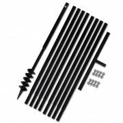 vidaXL Tarière de sol avec manche 80 mm et tube d'extension 9 m Acier
