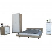 Cama 2 PL + Closet 2P + Comoda 5C + Comoda 3C - TuHome - Miel/Blanco