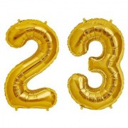 De-Ultimate Solid Golden Color 2 Digit Number (23) 3d Foil Balloon for Birthday Celebration Anniversary Parties