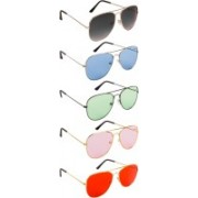 NuVew Aviator Sunglasses(Violet, Grey, Blue, Green, Pink, Red)