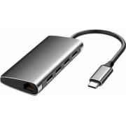 Hub USB Type-C Card Reader cu port HDMI RJ24 si 3 porturi USB 3.0 space gray