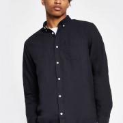 River Island Mens Navy long sleeve Oxford shirt (Size L)