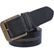 Sunshopping men's black leatherite needle pin buckle belt (PSD-TB-QYD)