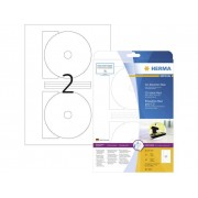 Herma CD-Etiketter 5115 Ø 116 mm Papper Vit 50 st Permanent Opak, Utskrivbara fram till kärnhål Bläck, Laser