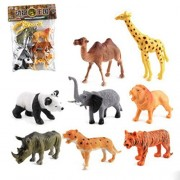 OKOK Animal Figure,6 Inch Jumbo Jungle Animal Toy Set, 8 Piece Plastic Animals Action Figure Toys Set, Forest Animals Toys Playset, Realistic Wild Animal, Eduactional Toys For Kids Toddler