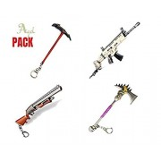 Agel (4 Pack) Guns Shotgun Rifle Scar Pickaxe Rock and Classic Weapons Toys Model Keychain Alloy Weapons Kids Toys Collection