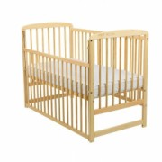 Patut din lemn BabyNeeds - Ola 120x60 cm cu sertar Natur + Saltea 12 cm