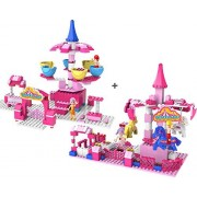 Wonderland 2-set Bundle building block toy, Standard Merry-Go-Round (WL201S) and Standard Coffee Cup (WL204S) Amusement Park Rides